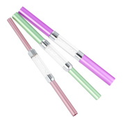 Docooler 3Pcs Nail Art C Curve Rod Stick Acrylic Nail Shaping Tools Double-ended with 6 Different Sizes Tube Rhinestone Mix Colour