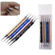 Biutee 5 X 2 Way Dotting Pen Set Nail Art Dotting Tools High-grade Metal Rod Drill Point Nail Art Pen Dotting Painting Brush Nail Pen Set(5pcs/set)