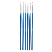 Abody® 6pcs Nail Art Design Painting Tool Pen Polish Brush Set Kit DIY Professional Blue