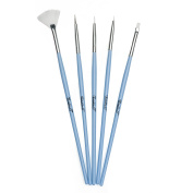Twinkled T Peri-Twinkle Nail Art 5 Pc Brush Set
