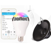 Wensltd E27 Bluetooth Control RGB Colour Bulb Light E27 Bluetooth Control Smart Music Audio Speaker Lamps