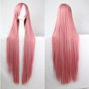Womens Ladies Girls 100cm Pink Colour Long Straight Wigs High Quality Hair Carve Cosplay Costume Anime Party Bangs Full Sexy Wigs