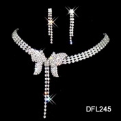 joylive Crystal Necklace Earrings Set Charm Tassel Butterfly Shape Jewellery Set Women Bride Party Jewellery