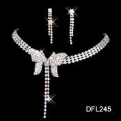 joylive Crystal Necklace Earrings Set Charm Tassel Butterfly Shape Jewellery Set Women Bride Party Jewellery