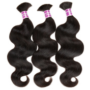 "ZS Hair Brazilian Human Hair Bulk For Braiding 3 pcs lot Body Wave Bulk Hair Soft Virgin Hair No Weft Attachment 20""20""20"""