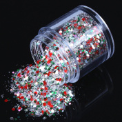 ECBASKET 1 Jar Hottest Hexagon Shinning Green And Red Colour Glitter Powder Nail Dust