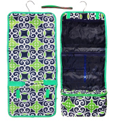 New Navy Green Damask Large Hanging Toiletry Kit Cosmetic Travel Bag by TravelNut® Unique Top Back to School College Supplies Birthday Gift Idea Her Girlfriend