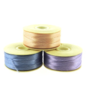NYMO Nylon Beading Thread Size D for Delica Beads, 64 Yards per Bobbin, Light Pink, Cathay Blue & , Lilac Purple