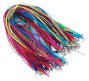 yueton 50pcs Colourful DIY Jewellery Making Voile String Ribbon Organza Strings Lobster Clasp Necklace Chain Cords