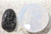 Happy Lucky Chinese Elephant Kwanyin Amulet Pendant Clear silicone mould. Size 61x38mm.