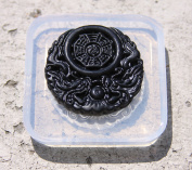 Lucky Chinese Zodiac Dragon Taiji 8-Diagram Pendant Amulet Clear silicone mould. Size 46x46 mm.