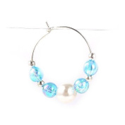 1 x Platinum/Pale Blue Brass 29mm Wine Glass Charm Ring - (Y06520) - Charming Beads