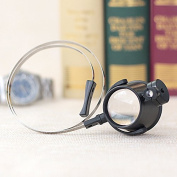 Home-organiser Tech Headband Wearing 15X Magnifying Glass Magnifier Loupe - Head Visor with Multi-Power LED Lighted Magnifier