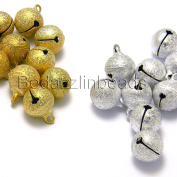 10 Big 14mm Round Textured Stardust Jingle Bell Dangle Charms With Loop