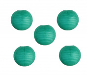 Joinwin 20cm Chinese Paper Lanterns Teal Colour Pack of 5 for Wedding Party Decoration Baby Shower Home Decoration