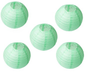 Joinwin 20cm Chinese Paper Lanterns Mint Green Colour Pack of 5 for Wedding Party Decoration Baby Shower Home Decoration