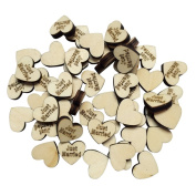 ULTNICE 50pcs JUST MARRIED Letters Woodec Heart Log Slices for DIY Crafts Wedding Party Decor