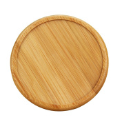 Ieasycan Retro Wood Coaster Set with 6 Round Handmade Table Coasters and Decorative Wooden Holder for Tea Cups Coffee Mugs Beer Cans Bar Tumblers