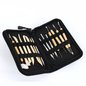 Lautechco 14Pcs/Set DIY Clay Pottery Sculpture Decoration Carving Tool Modelling Carved Knife Wood Handle Set
