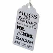 Summer-Ray.com 50pcs Personalised Mini Royale White Wedding Favour Gift Tags Hugs & Kisses from our New Mr. & Mrs