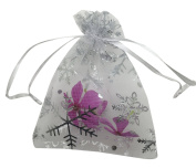 "SUNGULF 100pcs Organza Pouch Bag Drawstring 3.5""x4.5"" 9x12cm Strong Gift Candy Bag Jewellery Party Wedding Favour"