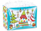 """MERRY TREES"" Christmas Gift Basket Box ""BOXCO""- Large 26cm x 15cm x 7 1/2"
