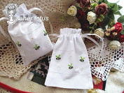 White Linen Gift Bags Drawstring Embroider Cute Bee 13cm x 18cm Pack of 2