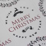 Cream Christmas Reindeer Sticker Sheet - Advent Xmas Craft x 35 Vintage