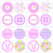 Lot 26 Studios Art-U-Stick Baby Girl Dots Wall Stickers, 30cm x 30cm