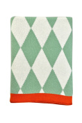 DARZZI Baby Diamonds Baby Blanket, Sage Green/Natural