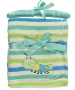"Nannette ""Striped Caterpillar"" Plush Baby Blanket - green/blue, one size"