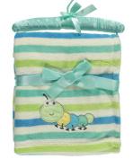 "Nannette ""Striped Caterpillar"" Plush Baby Blanket - green/blue, one size"