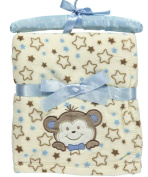 "Nannette ""Smiling Bear"" Plush Baby Blanket - beige/blue, one size"