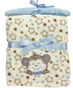 "Nannette ""Smiling Bear"" Plush Baby Blanket - beige/blue, one size"
