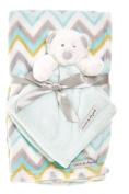 Blankets & Beyond Blue and White Chevron Blanket & Teddy Bear Nunu 2 Pc Set
