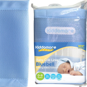Prince Bluebell Baby Mesh Crib Liner for Cribs By Kiddomore - 2x Pcs for Full Coverage, New & Improved Fibre Padding with Breathable AirFlow Technology
