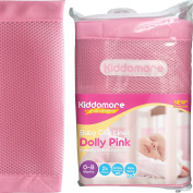 Gorgeous Dolly Pink Baby Mesh Crib Liner for Cribs By Kiddomore - 2x Pcs for Full Coverage, New & Improved Fibre Padding with Breathable AirFlow Technology