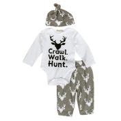 FEITONG Newborn Infant Baby Boy's Print Romper Tops+Long Pants +Hat