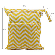 OHBABYKA Baby Wet and Dry Cloth Nappy Organiser Bag,Waterproof Double Zipper - Yellow Wave