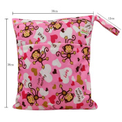 Baby Wet and Dry Cloth Nappy Organiser Bag,Waterproof Double Zipper - Pink Monkeys