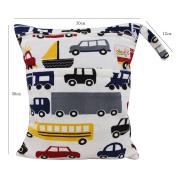 OHBABYKA Baby Wet and Dry Cloth Nappy Organiser Bag,Waterproof Double Zipper - Cars