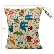 OHBABYKA Baby Wet and Dry Cloth Nappy Organiser Bag,Waterproof Double Zipper - Words, Animals