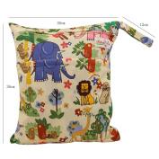 OHBABYKA Baby Wet and Dry Cloth Nappy Organiser Bag,Waterproof Double Zipper - Colourful world