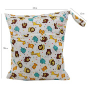 OHBABYKA Baby Wet and Dry Cloth Nappy Organiser Bag,Waterproof Double Zipper - Dot animals print
