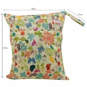Baby Wet Dry Cloth Nappy Organiser Bag,Waterproof Double Zipper - Printing Plants,NPD-5