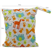 OHBABYKA Baby Wet Dry Cloth Nappy Organiser Bag,Waterproof Double Zipper - Print animals