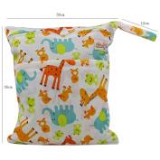 OHBABYKA Baby Wet Dry Cloth Nappy Organiser Bag,Waterproof Double Zipper - Print animals
