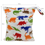 Baby Wet and Dry Cloth Nappy Organiser Bag,Waterproof Double Zipper - Dinosaurs and elephants
