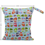 OHBABYKA Baby Wet Dry Cloth Nappy Organiser Bag,Waterproof Double Zipper - Owl