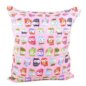 Kangkang@ Pink Owl Wet Bags Waterproof Nappy Bag Multi-function Nappy Bag - 14*28cm